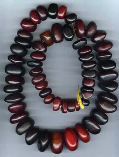 Beautiful strand of cherry copal - A tree resin sometimes called 'young amber' - though it is not a genuine amber