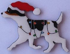 Rat Terrier Christmas Pin Magnet or Ornament Free Shipping Hand Painted. $11.95, via Etsy.