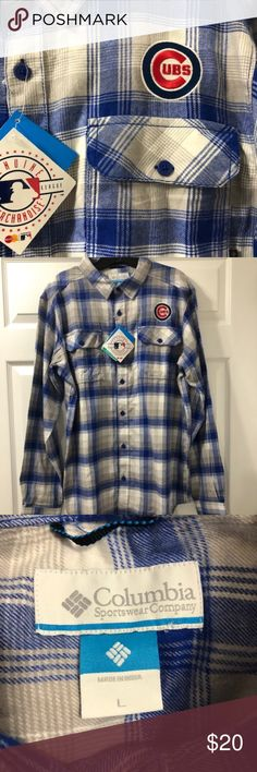 """Columbia Plaid Flannel Shirt- CUBS Logo- Lg Columbia Plaid Flannel Shirt CUBS Logo Embroidered  Size- Large Approximate Length From Shoulder to Hem- 31"""" Columbia Shirts Casual Button Down Shirts"""