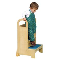 Guidecraft Kitchen Helper High-Rise Step-Up - Natural: Wooden Step Stool for Toddlers, Counter Height with Handholds - Quality Kids' Furniture Toddler Furniture, Nursery Furniture, Modern Furniture, Childrens Step Stool, Kids Stool, Step Stools, Plywood Projects, Kid Projects, Childrens Kitchens