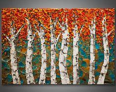 """Grande 36 """"x 24"""" x1.5 - Original abedul árbol pintura paleta cuchillo empaste textura profesionalmente estirada con cable listo para colgar envío gratis"""