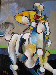 """Geoffrey Key 'Rider with Blue Cloud' 2004 24"""" x 18"""" Oil on Canvas in Private Collection"""