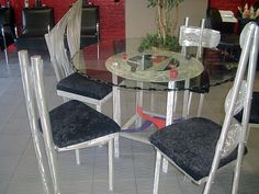 glass dining table with aluminum and modern design, custom chairs, Contemporary Art & Sculptures by Tony Viscardi.  See more at www.viscardidesigns.com