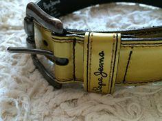 Pepe Jeans London vintage yellow leather belt 90's woman belt