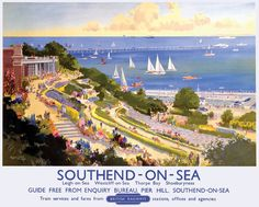 Southend –on-Sea   Southend is only 36 miles from London so the resort has been popular since  Georgian times .Once the famous pier had been constructed in the 1880's the influx of day trippers became a torrent . Visitor facilities were expanded and the coastal gardens illustrated in this poster , were landscaped . This poster was issued by BR in 1948 .   Artwork by Frank Mason.17