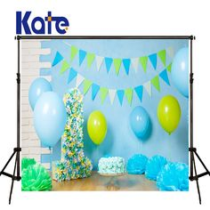 Find More Background Information About KATE Photography Backdrops Baby 1st Birthday Backdrop Blue Balloon And Cake