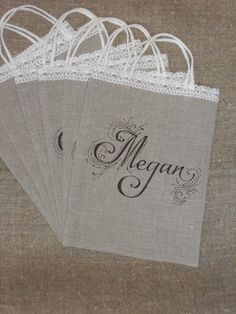 Wedding favor bags natural burlap linen and lace by cikucakuu, $52.00