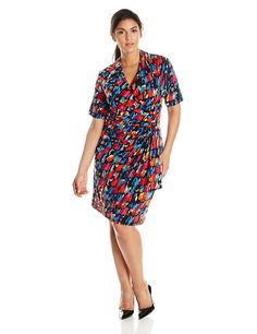 Karen Kane Women's Plus-Size Paint Print Cascade Wrap Dress * Check out this great image  : Clothing for Plus size