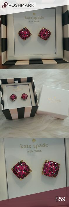 KATE SPADE Pink earrings Brand New Kate Spade speckled pink pierced earrings. Kate Spade Jewelry Earrings