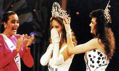 Miss Universe 1987. Representing Chile, Cecilia Bolocco. Gets crowned by Barbara Palacios from Venezuela.