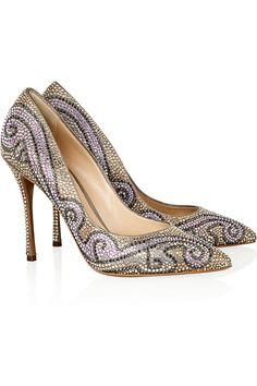 Wear them or put them under a glass case? Gorgeous & timelessly classic. Nicholas Kirkwood Swarovski crystal-embellished suede pumps NET-A-PORTER.COM #shoes