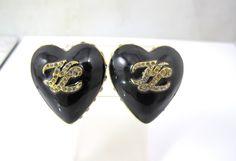 Karl Lagerfeld Earrings, Heart Logo Earrings, Black Enamel Crystal Heart Clip On Earrings, 1980s Haute Couture, Vintage Statement Earrings by TonettesTreasures on Etsy https://www.etsy.com/listing/250934931/karl-lagerfeld-earrings-heart-logo