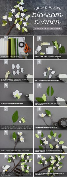 Make a Crepe Paper Blooming Branch Faux Flowers, Diy Flowers, Fabric Flowers, Paper Flower Patterns, Paper Flower Tutorial, Fleurs Diy, Tissue Paper Flowers, Crepe Paper Roses, Flower Paper