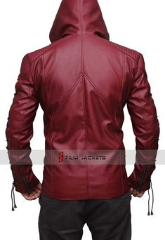 4db3651728a2 Arsenal Leather Jacket Custom Leather Jackets, Arsenal Arrow, Leather Jacket  With Hood, Green