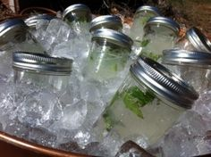 Heat idea except I dont like Mojitos Mojito Mason Jars- Think Ill make these for my Birthday BBQ Adult Camping Party, Camping Parties, Birthday Bbq, 30th Birthday Parties, Birthday Ideas, Mojito, Pig Roast Party, Cocktail Drinks, Cocktails