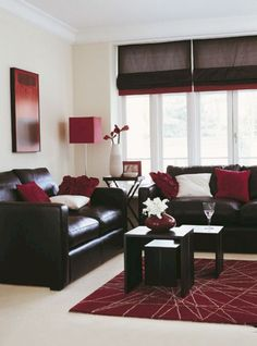 Chocolate brown and deep red living room. The hubby likes red, but I'm not having a red living room. Living Room Red, Home And Living, Black And Red Living Room, Black Leather Sofa Living Room, Modern Living, Dark Couch, Leather Couches, Black Living Room Furniture, Living Room Decor Brown Couch