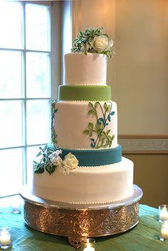blue/green wedding cake