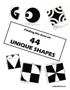 Geometry: Finding the Area of 44 Unique Shapes Geometric Formulas, Two Dimensional Shapes, Problem Solving Skills, Group Work, Triangles, Booklet, Circles, Geometry, Opportunity