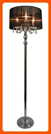 Elegant Designs LF1002-BLK Sheer Shade Chrome Floor Lamp with Hanging Crystals, Black - Unique lighting lamps (*Amazon Partner-Link)