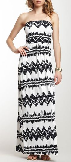 Peach Love Cream California Tribal Strapless Maxi Dress