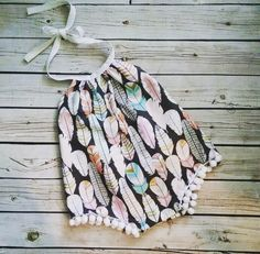 Baby Romper-  Sunsuit - feather- boho -Playsuit - Pom Pom Romper by vintagestitches on Etsy https://www.etsy.com/listing/261881517/baby-romper-sunsuit-feather-boho