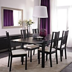 BJURSTA extendable table seats 4-8 and BÖRJE chairs with white seat cover and BJURSTA sideboard all in brown-black