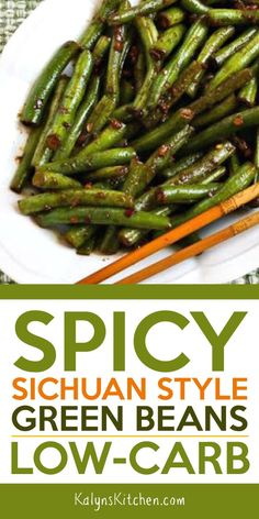This recipe for Spicy Sichuan Style Green Beans is the perfect way to use fresh summer green beans from the garden or Farmers Market! And these tasty Sichuan Green Beans are low-carb, Keto, gluten-free, low-glycemic, and Vegan! Keto Side Dishes, Vegetable Side Dishes, Side Dish Recipes, Vegetable Recipes, Asian Recipes, Diet Recipes, Vegetarian Recipes, Cooking Recipes, Healthy Recipes