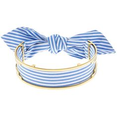 MONICA SORDO Blue & White Stripe Bandita Cuff Choker (£390) ❤ liked on Polyvore featuring jewelry, necklaces, cuff jewelry, bow jewelry, costume jewelry choker necklaces, engraving necklaces and bow choker