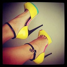 Newest Fashion Women shoes Cheap Price Party Shoes Hot Sale Sexy Big Size Open Toe Mixed-color Buckle Heels Yellow Hot Heels, Sexy Heels, Cute Shoes, Me Too Shoes, Sandro, Talons Sexy, Yellow Heels, Beautiful Heels, Boots