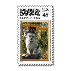 TURKEY AGAIN? Pilgrim Cat Postage Stamp by #FallSeasonsBest  shipping to Chicago, IL #thanksgiving #pilgrim