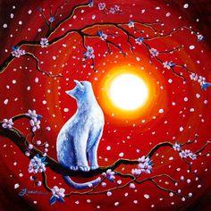 White Cat in Bright Sunset Original Acrylic Painting