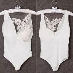 Womens Sexy Bodysuit Crochet Mesh Sheer Lace Sleeveless Bodycon Leotard