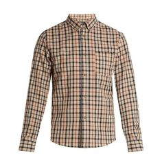 A.P.C. Checked cotton and linen-blend shirt (2 285 ZAR) ❤ liked on Polyvore featuring men's fashion, men's clothing, men's shirts, men's casual shirts, beige multi, mens patterned shirts, mens button down collar shirts, mens checkered shirts and men's curved hem t shirt