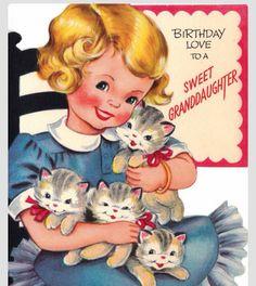 Vintage Birthday Love To A Sweet Daughter Greetings Card via Etsy Vintage Birthday Cards, Kids Birthday Cards, Birthday Love, Vintage Greeting Cards, Vintage Valentines, Birthday Greeting Cards, Vintage Postcards, Birthday Greetings, Vintage Pictures