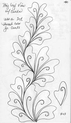 LuAnn Kessi: Quilting Sketch Book…Big Leaf Vines is creative inspiration for us. Get more photo about diy home decor related with by looking at photos gallery at the bottom of this page. Quilting Stencils, Quilting Templates, Longarm Quilting, Free Motion Quilting, Quilting Tutorials, Hand Quilting, Quilting Tips, Machine Quilting Patterns, Quilt Patterns