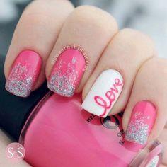 Adorable Valentine's Day Nail Ideas with cursive love, pink and glitter Nail Design, Nail Art, Nail Salon, Irvine, Newport Beach