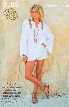 OAXACA embroidered cotton tunic Blue Hippy Summer 2015 Collection #boho #gypset #hippy #blue #southoffrance #handprinting #bohemian #vintage #bohochic #bohostyle #boholiving #bohemianstyle #gypsy #hippie #travel #beach #french #france #wanderlust