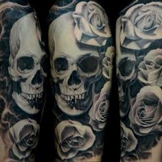 Jose Perez Jr - Black and Gray Skull and Rose Tattoo