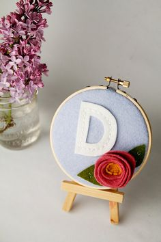 Hoop Art   Monogram   Felt Flower  Wall Decor by by CatshyCrafts, $36.00
