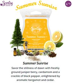 Scentsy June 2015 Scent of the Month Summer Sunrise: Savor the still of dawn with freshly ground juniper berry, cardamom and a crackle of black pepper, enlightened by aromatic bergamot and cedar. Available for the first time with a second scent of the month: Summer Sunset in June 2015 at a discount. $4.50 per Bar. The Warmer is Lone Star : A rustic Star symbol set against a pattern of reclaimed barn wood. Warmer is on sale 10% off in June for $31.50 at https://marieafjelstad.scentsy.us
