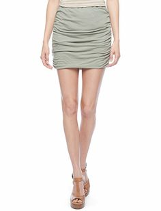 Ruched Mini Skirt. This would be so cute with some patterned tights!