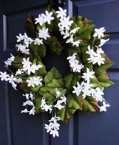 White Wildflower Wreath  Spring Wreaths  by HomeHearthGarden