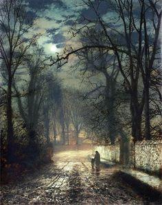 lyra-cepheus:  John Atkinson GrimshawA Moonlit Lane (1874)