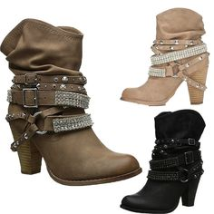Winter Women Shoes Pu Leather Gothic Rivet Slouch Belt Buckle Casual Ankle Boots