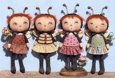 "Primitive Cloth Doll PATTERN ""Little Bugger Annies"""