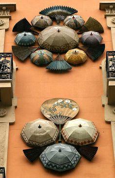 Umbrellas on the Casa Quadros, La Rambla, Barcelona, Spain