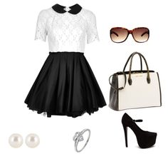 White and black dress with accessories combination | Combination of clothes and accessorize pics
