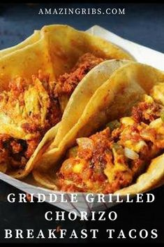 Kick your breakfast into high gear with this recipe for Griddle Grilled Chorizo Breakfast Tacos. Griddle grilling is a fantastic way to expand the culinary possibilities of outdoor cooking! Make these amazing breakfast tacos this coming weekend. Grill Breakfast, Chorizo Breakfast, Breakfast Recipes, Camping Breakfast, Flat Top Griddle, Griddle Grill, Chorizo Recipes, Mexican Food Recipes, Grilling Recipes