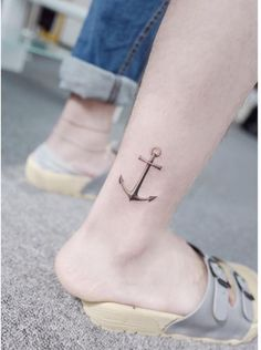 Meaningful Anchor Tattoos For Guys Traditional Black Designs Anchor Tattoo Ankle, Small Anchor Tattoos, Anchor Tattoo Design, Small Tattoos, Type Tattoo, Tattoo Shop, Arm Tattoo, Tattoos For Women, Tattoos For Guys