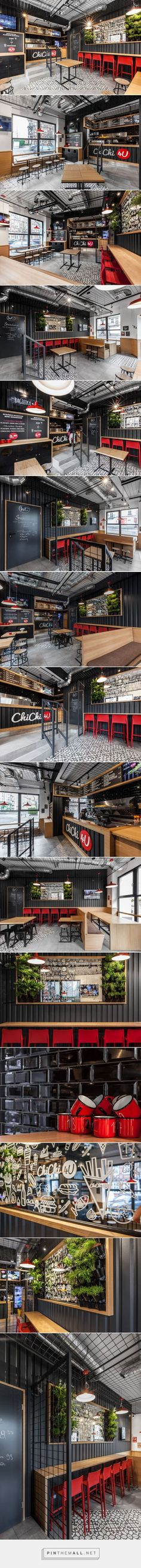 ChiChi Burger Bar on Behance. - a grouped images picture - Pin Them All Café Bar, Bar A Vin, Architecture Restaurant, Café Restaurant, Restaurant Design, Coffee Shop Interior Design, Coffee Shop Design, Burger Bar, H Design